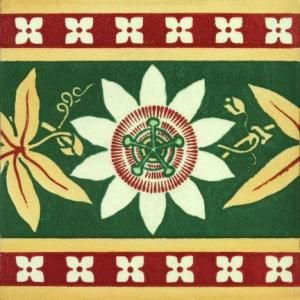 Gothic Pugin Passion Flower Fireplace Tiles
