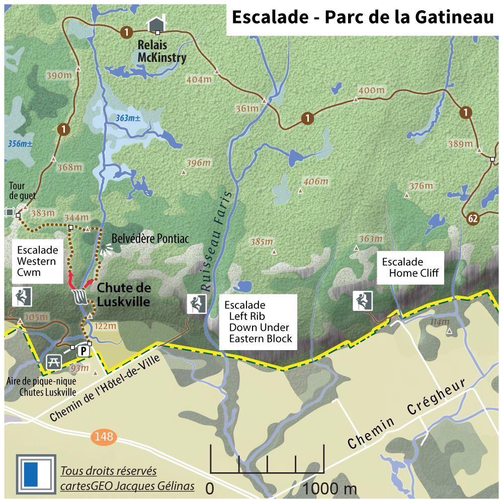 Infocarte Parc de la Gatineau Qubec Endroits pour faire de l