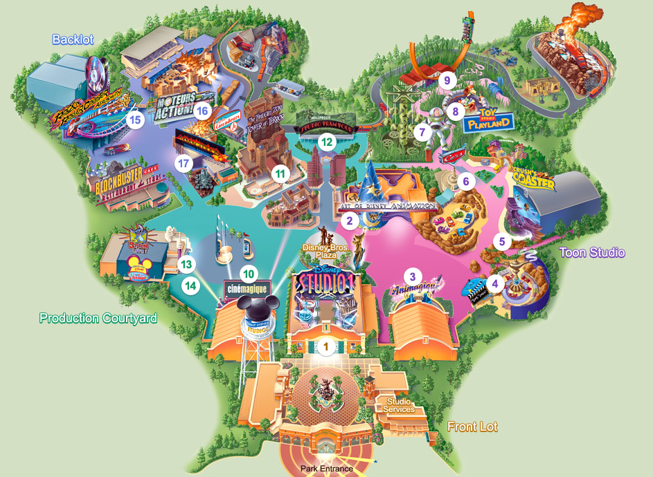 Euro Disney Paris Map Walt Disney Studios At Eurodisney Paris
