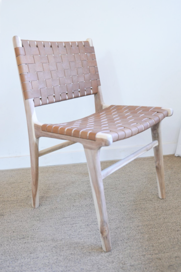 Woven Leather Strap Dining Chair Saddle Side Chairs Dining Chair Side Chairs