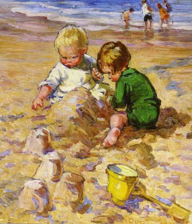 Dorothea Sharp  Yellow Bucket  Spade  Vintage Artists  Kinderbilder Kinder bilder Kinder
