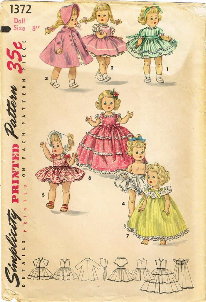 1950s Vintage Simplicity Sewing Pattern 1372 Cute 8 Inch Ginny Doll ...