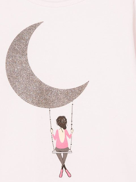 Galexy Girl Swinging Tattoo: Shop Lili Gaufrette Girls Swinging On The Moon Print Top