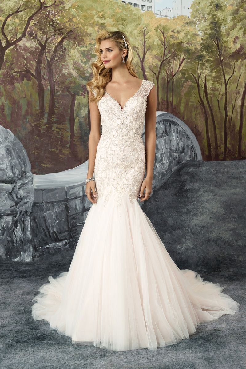 Style chantilly lace and tulle fit and flare dress with beaded