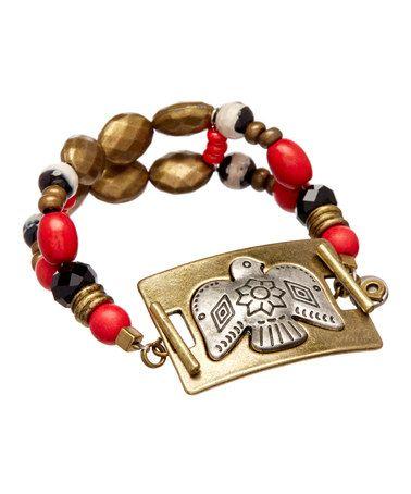 $11.99mAnother great find on #zulily! Goldtone & Red Bird Bracelet #zulilyfinds