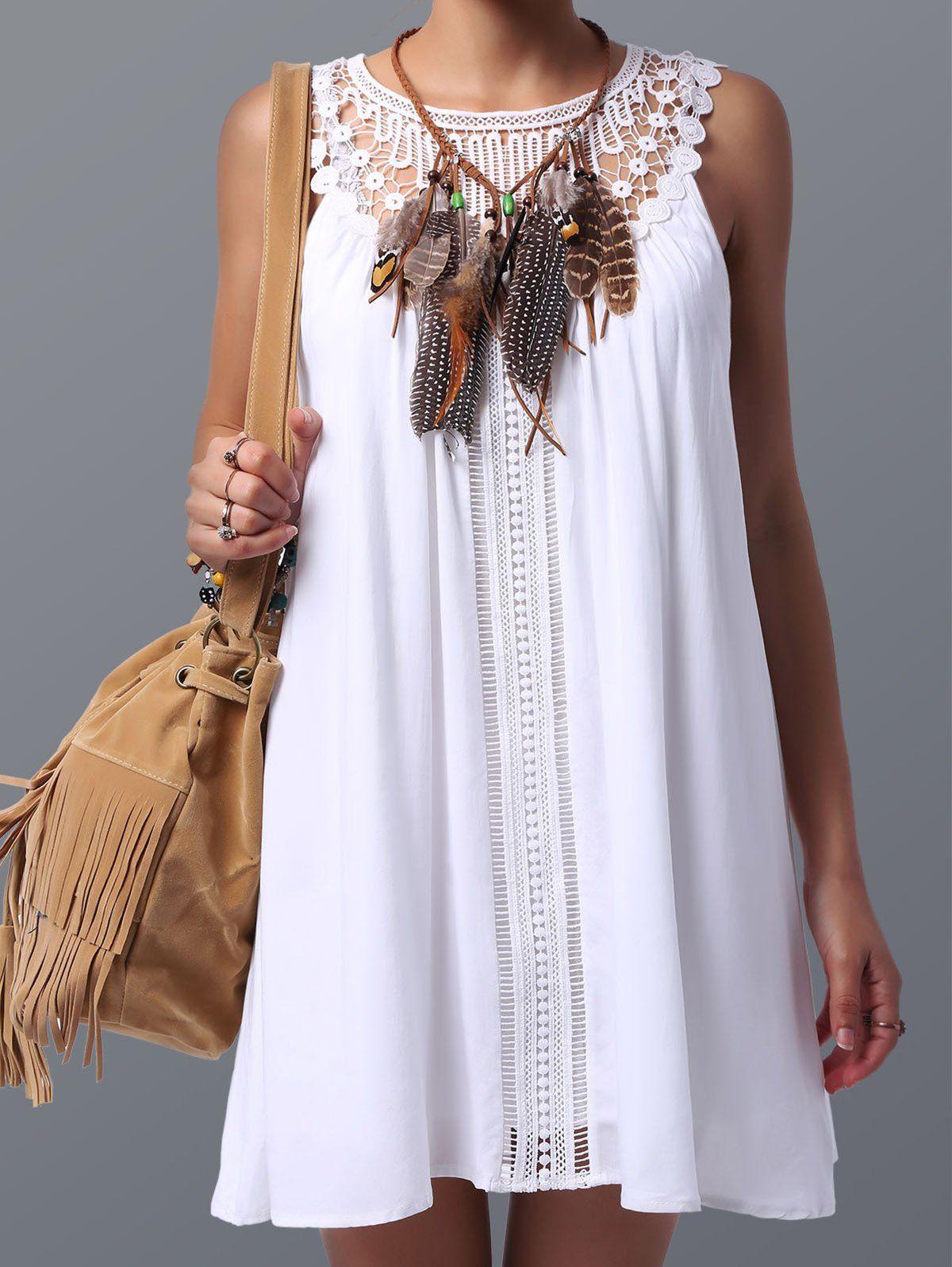 f22a279149a6f8 GAMISS - Women s Trendy Lace Spliced Sleeveless Dress