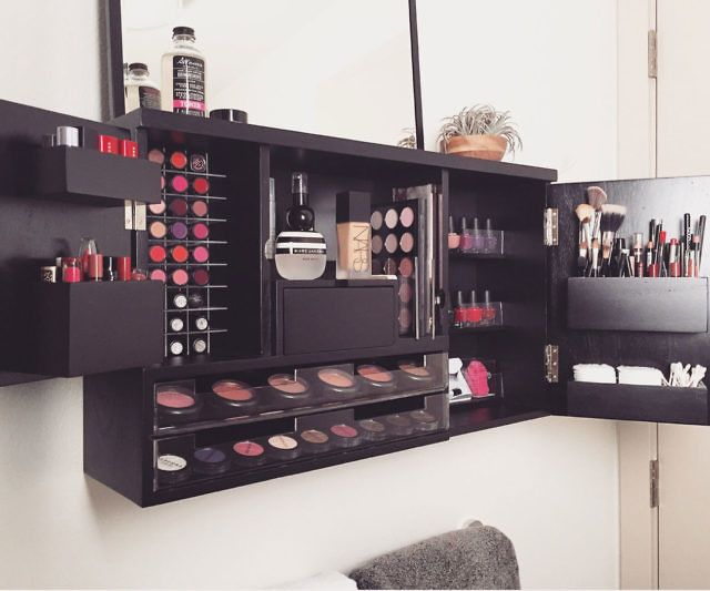 Wall Mounted Makeup Organizer Wall Mounted Makeup Organizer Makeup Organization Vanity Makeup Organization