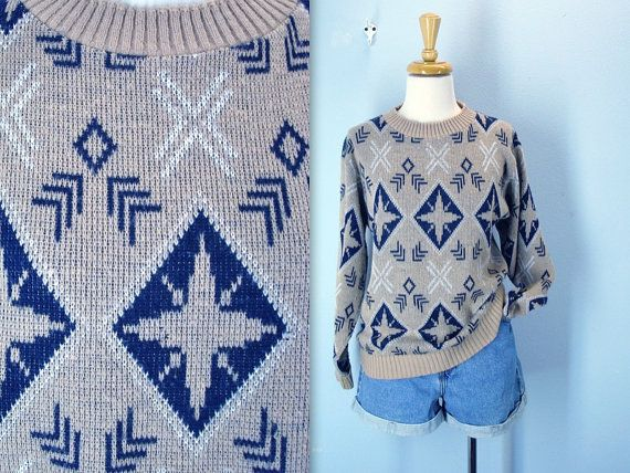 Vintage 1970s Sweater / Abstract Snowflake Khaki by SnapVintage, $24.00
