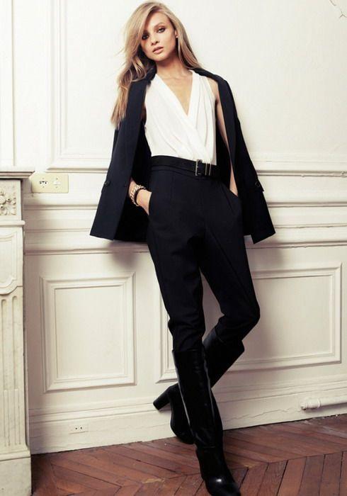 The lawyer Girl in a wrap top - #mango #womenswear #white #blue #suit #pants #officewear