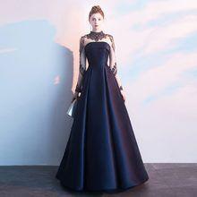 Photo of Dunkelblaues Ballkleid Abendkleider Langarm-Kristalle mit hohem Ausschnitt Abendkleid CRA …, Marineblau …