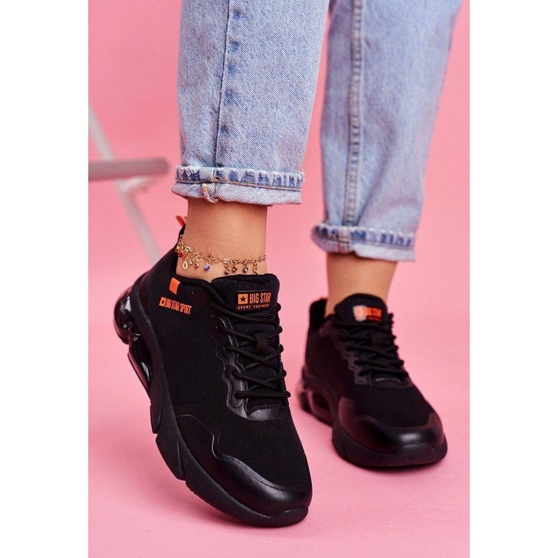 Damskie Sportowe Obuwie Sneakersy Big Star Czarne Ff274946 Pomaranczowe Dc Sneaker Shoes Sneakers
