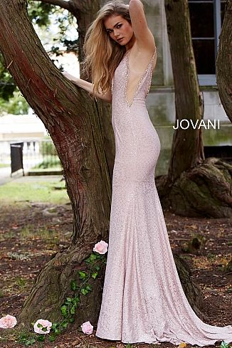 814b77ee580d Blush Embellished Plunging Neck Fitted Jersey Prom Dress 57897 in ...