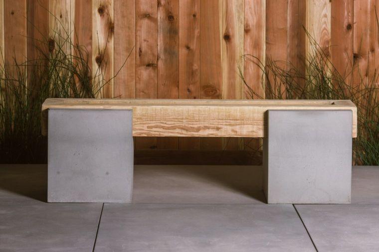 meubles en béton et banc en béton et bois pour jardin ...