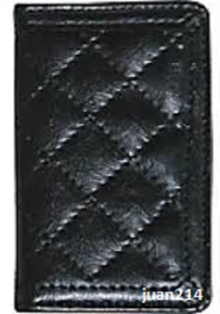 Buxton Black Quilted Leather with Pewter Faux interior Business Card ...