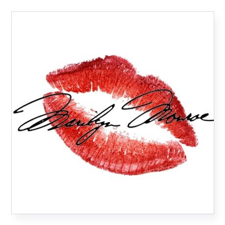 marilyn monroe signature lips sticker on cafepress com