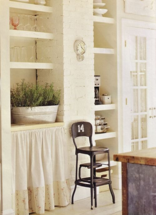 Open And Curtained Kitchen Cabinets And French Door . Love That Simple, Cosy  Country Living Look   Continued!