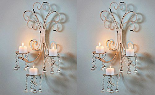 Pin by paula lowery on for the home 2 pinterest 2 set wall chandelier candle holder sconce shabby chic elegant scrollwork decorative metal vintage style decorative home accent decoration fascinating aloadofball Image collections