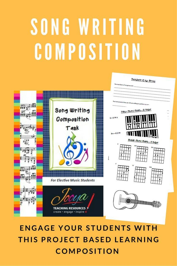 Inspire creativity and engage your music students with this Project Based Learning Composition Assignment  Song Writing Composition Task. Students create, perform and record a song based on the lyrics and chord progressions provided, on an instrument/s o