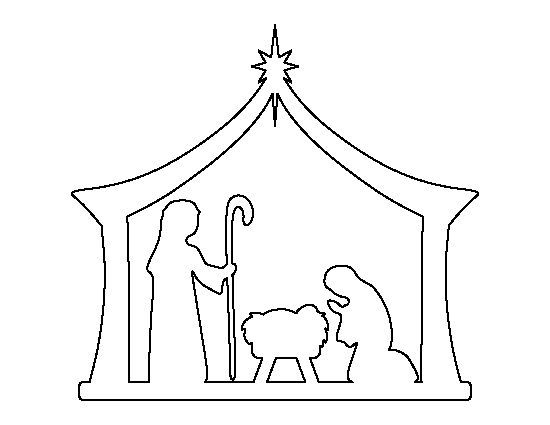 Nativity pattern use the printable outline for crafts for Nativity cut out patterns wood