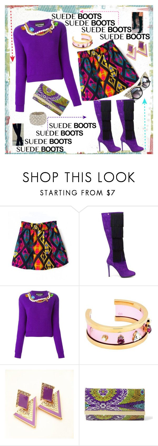 """""""STyled Suede Boots"""" by westcoastcharmed ❤ liked on Polyvore featuring Boutique Moschino, Maria Francesca Pepe, Retrò, Steve Madden and suedeboots"""