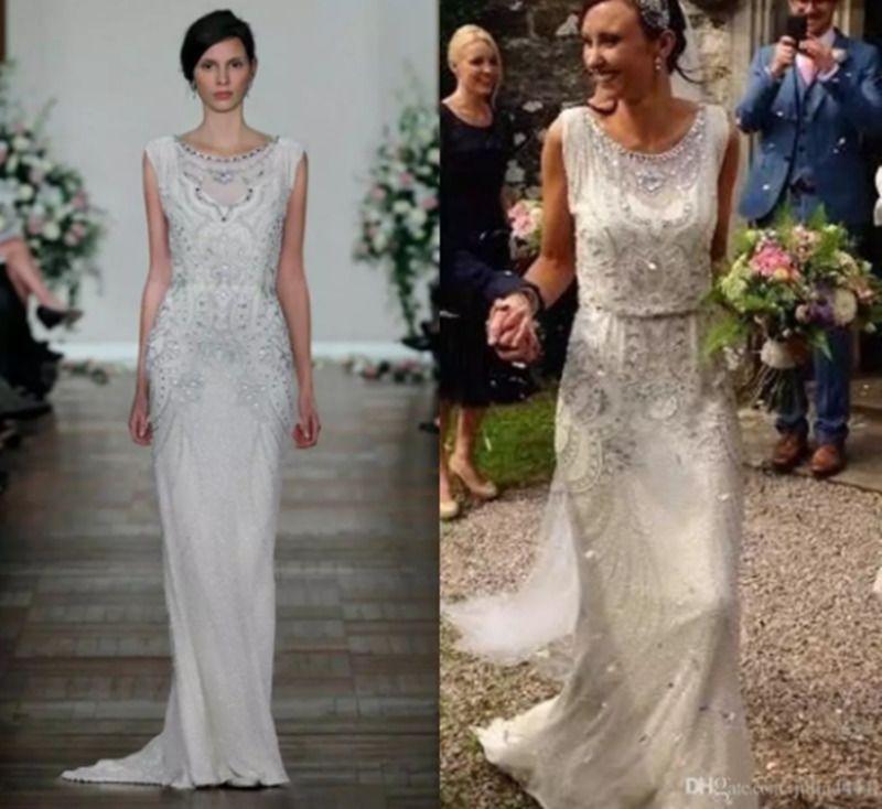 e4cfcb04be3a1 Crystal Shiny Garden Wedding Dresses Keyhole 2018 Jenny Packham Full length  Real