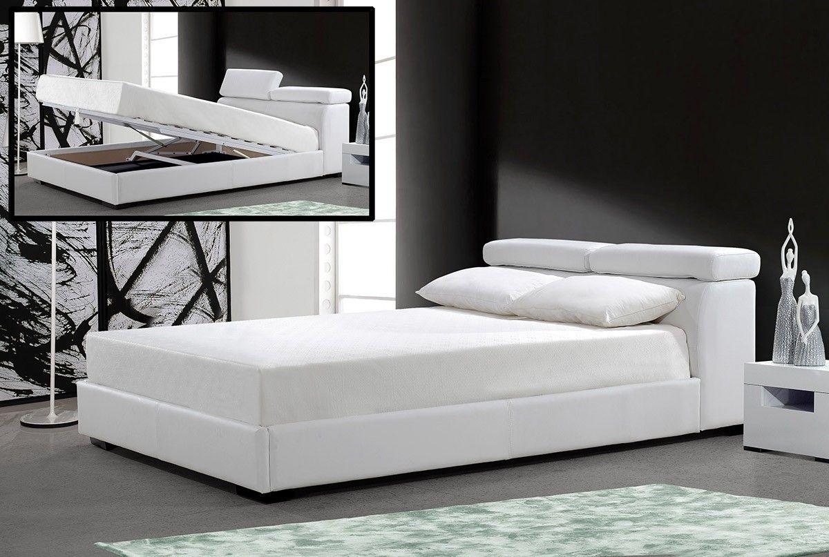 Superior Logan White Leather Bed W/ Storage