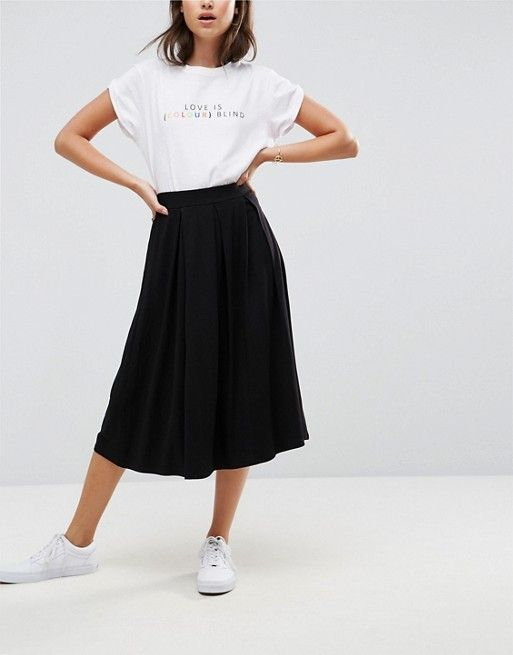DESIGN midi skirt with box pleats