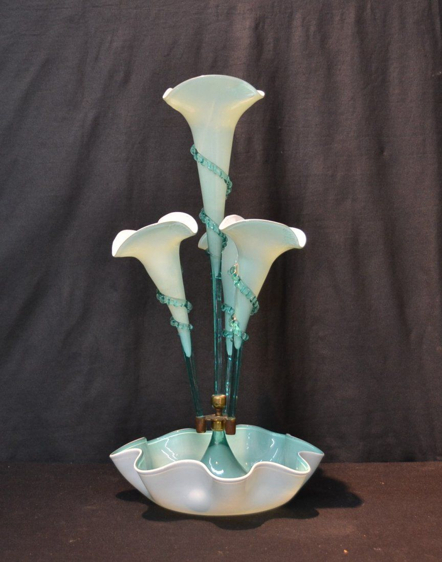 blue opaline glass epegne with 4 flutes