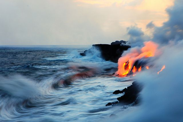 Lava meets water off the shores of Hawaii Photos by Nick Selway
