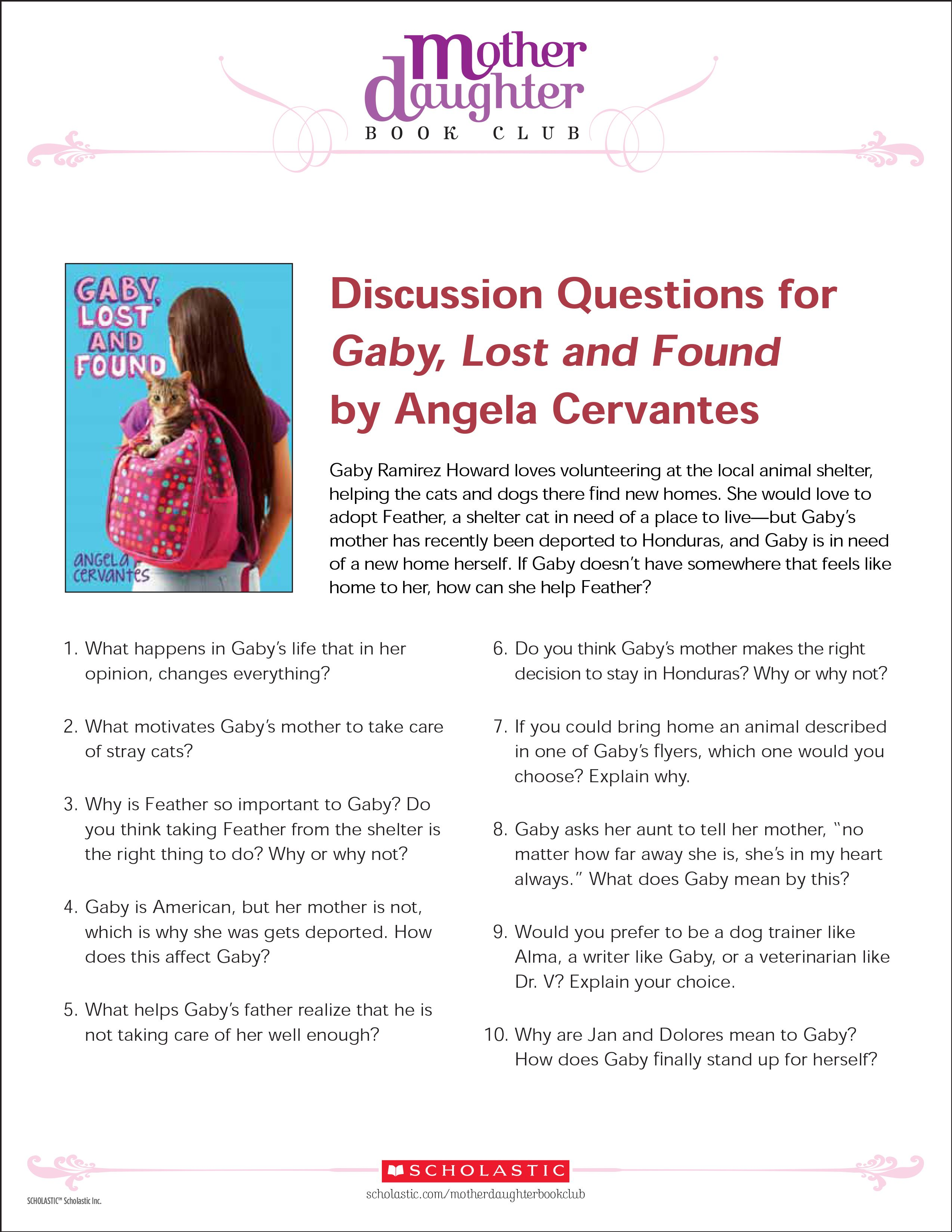 Discussion Questions For Gaby Lost And Found By Angela Cervantes