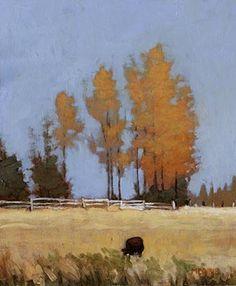 Afternoon Near Missoula, Marc Bohne. 7 x 6, oil on panel