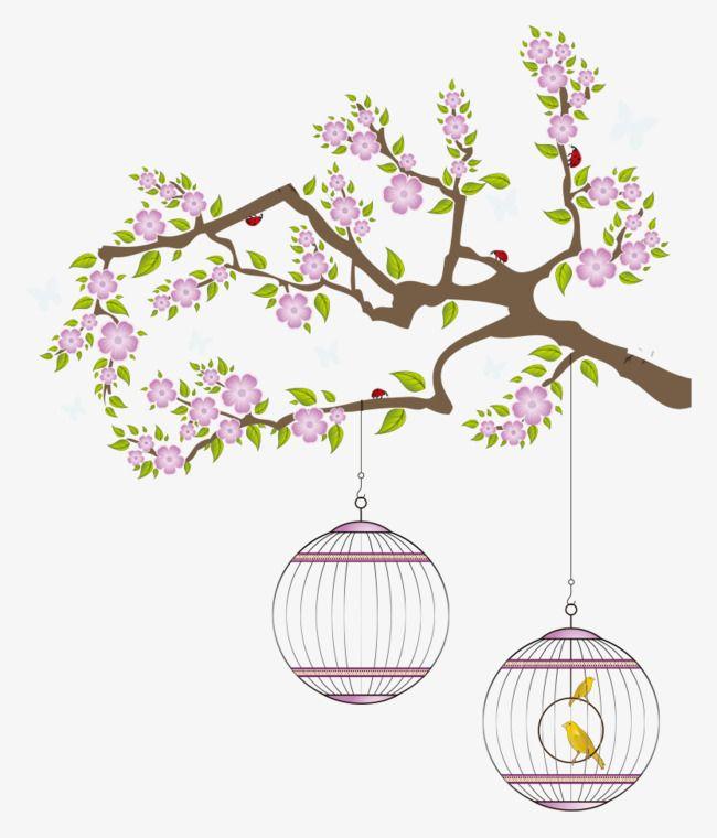 الأرجواني الزهور قفص العصافير الديكور الزهور المرسومة Png وملف Psd للتحميل مجانا Stylish Wall Art Vector Flowers Purple Flowers