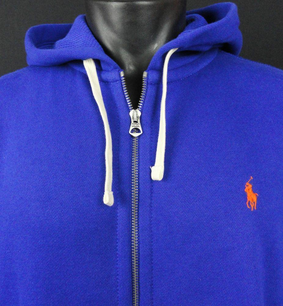 1b50897e4 NWT Polo Ralph Lauren Mens XL Hoodie Full Zip Sweatshirt Royal Blue Orange  Pony…