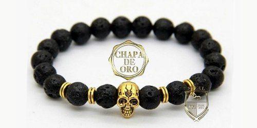 c5968f606734 brazalete pulsera hombre buda calavera chapa de oro steel ...