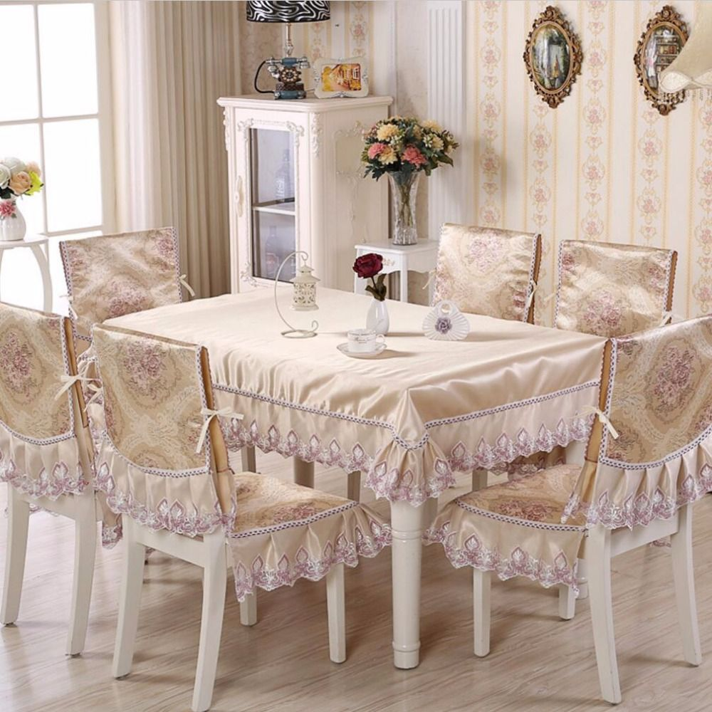 Sunnyrain 5 7 Piece Jacquard Luxury Table Cloth Chair Cover Set Pastoral Tablecloth Chair Cover For Dining Room Table Luxury Table Dining Room Table Home Decor