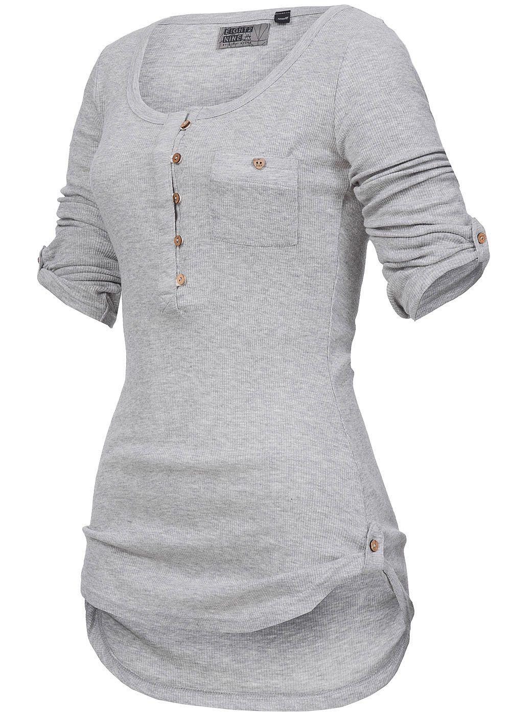 94536bac014a18 Eight2Nine Damen Longsleeve Turn-Up Ärmel Brusttasche Knopfleiste grau  melange - 77onlineshop T Shirt Nähen