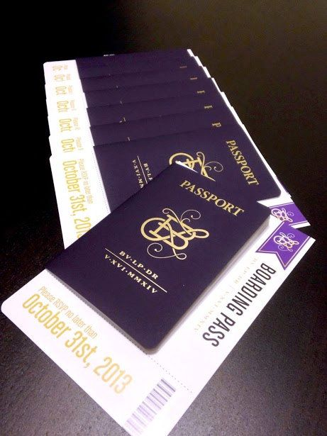 Destination Wedding Passport Invitations And Boarding Pass Rsvp