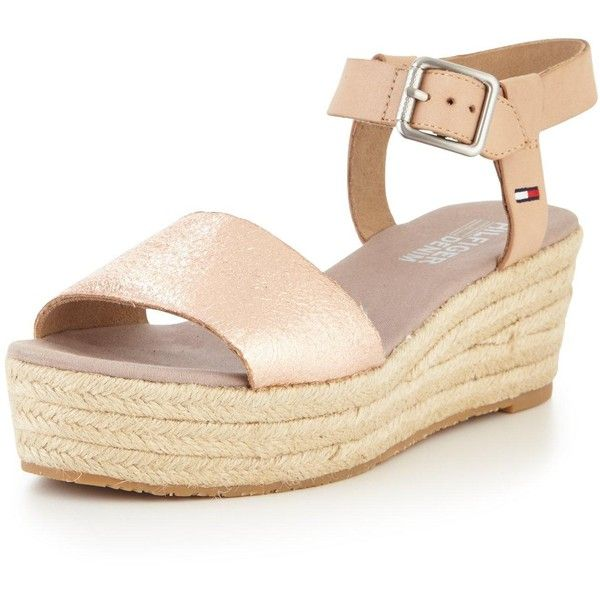7baa5022bba771 Tommy Hilfiger Tommy Hilfiger Lory Rose Gold Low Wedge Sandal ( 85) ❤ liked  on