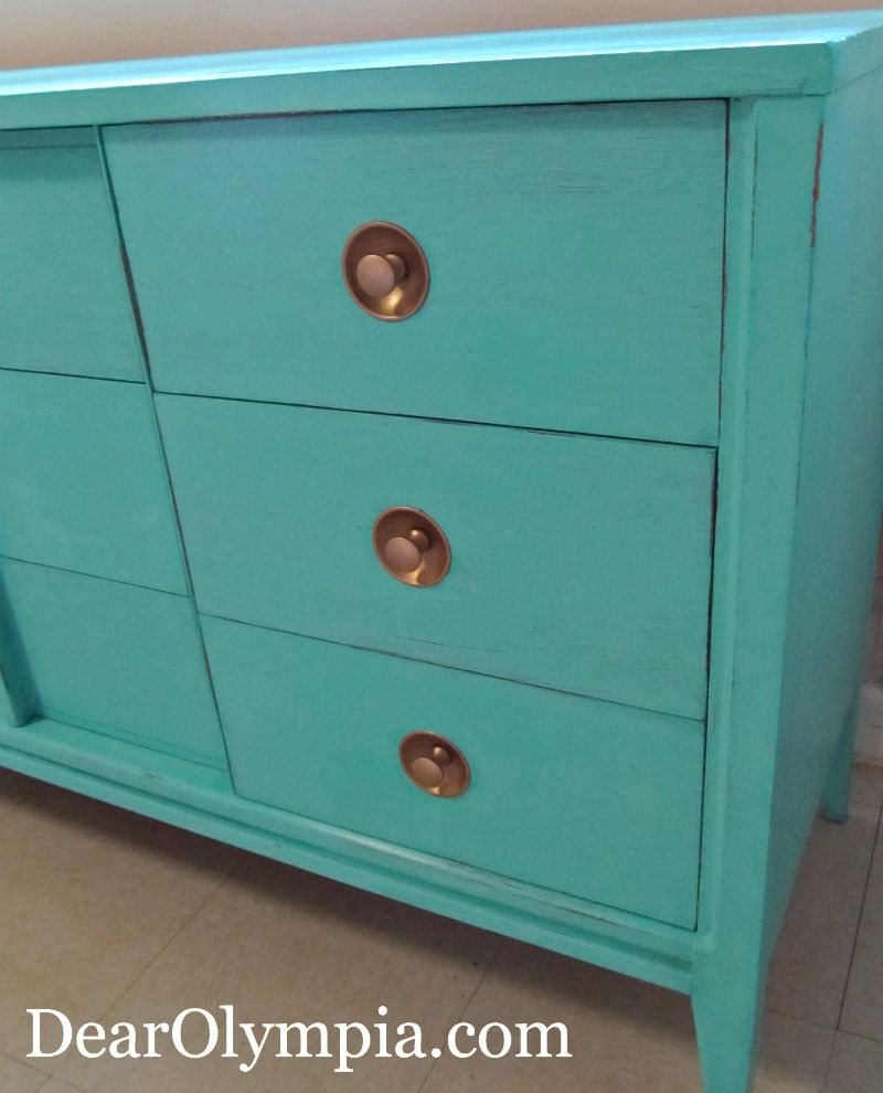 Mid-Century Modern Dresser in CeCe Caldwell's Santa Fe Turquoise ...