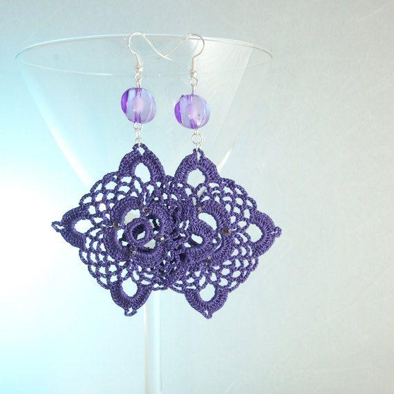Purple Crochet Earrings by BizarreAccessories on Etsy ...