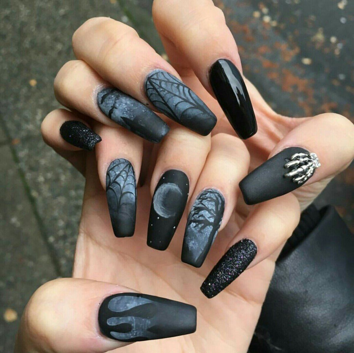 Black Matte And Glossy Nails With Goth Decoration Nail Art Polish Stickers Designs Gel Pedicure
