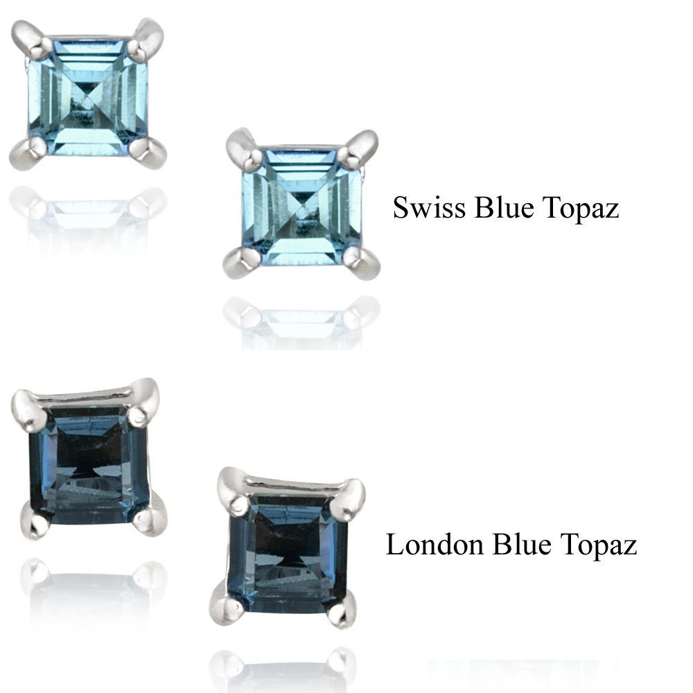Glitzy Rocks Sterling Silver 7/8ct TGW Blue Topaz Square Stud Earrings (London Blue), Women's