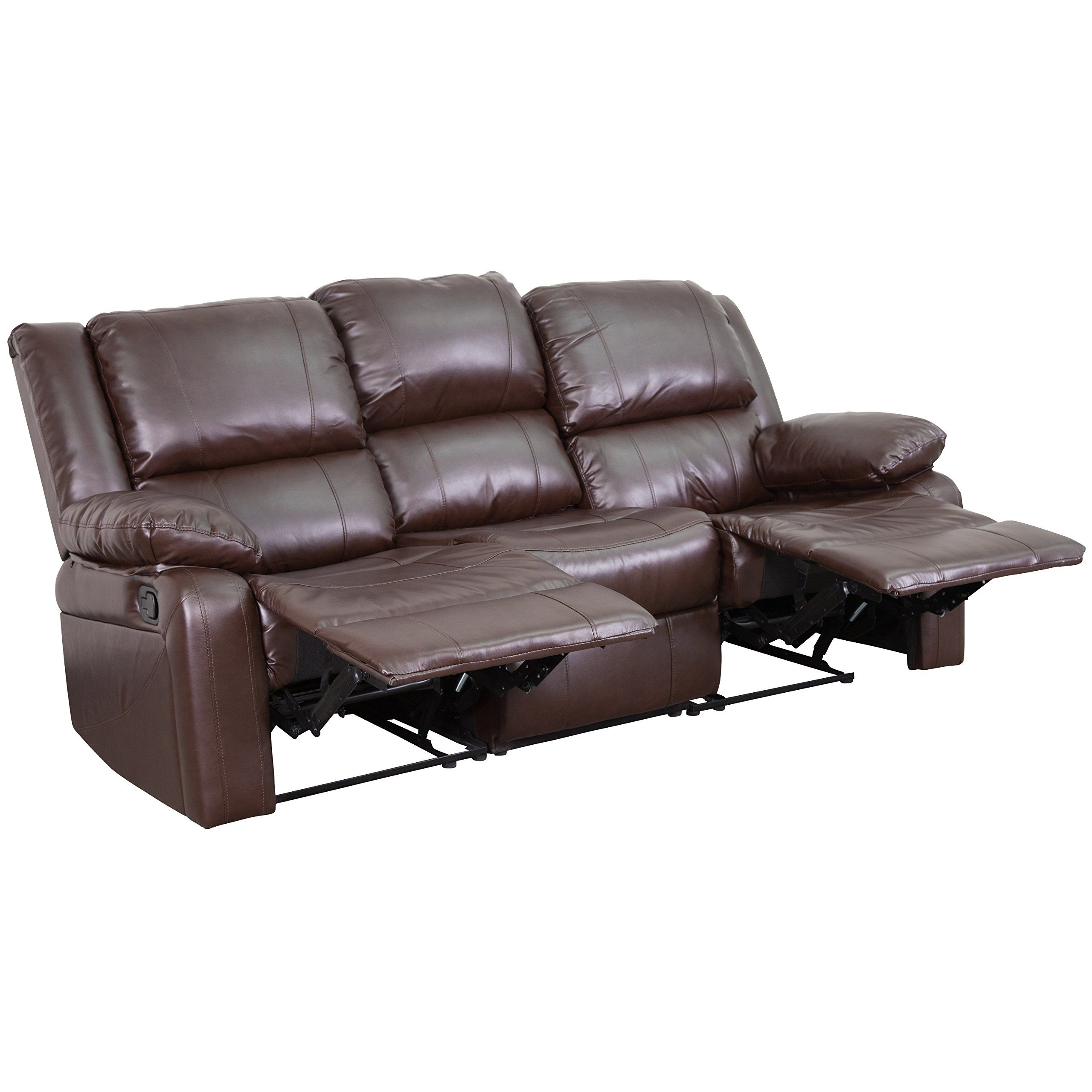 Flash Furniture Harmony Series Brown Leather Sofa With Two Builtin