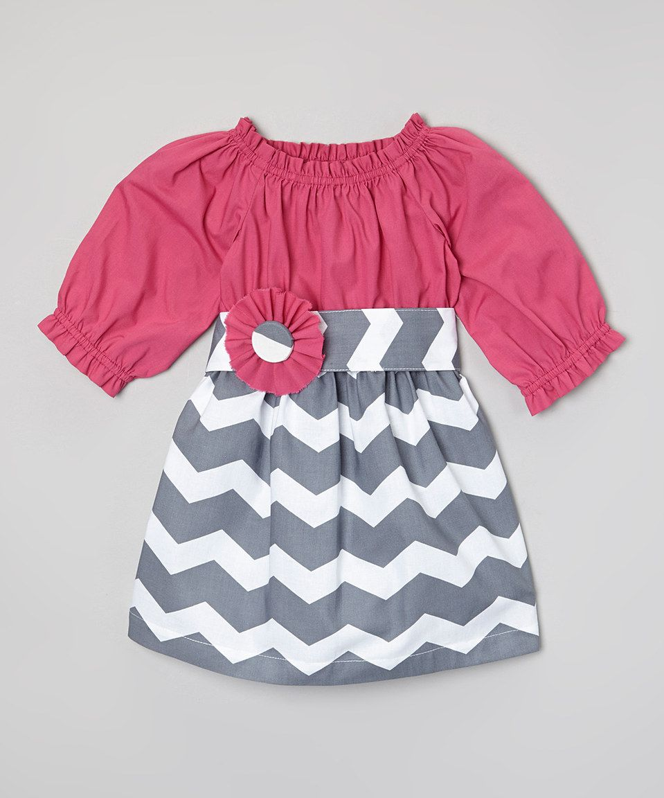 This Sweet White Peony Magenta & Gray Chevron Dress & Sash - Infant, Toddler & Girls by Sweet White Peony is perfect! #zulilyfinds