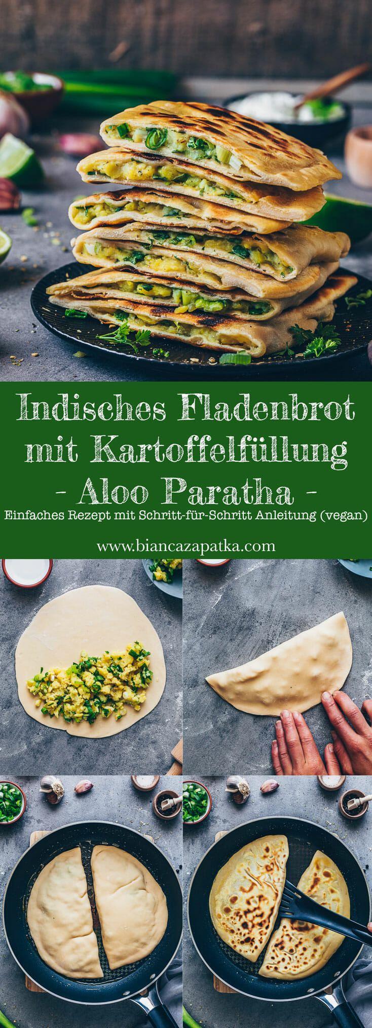 Indisches Fladenbrot mit Kartoffelfüllung (Pfannenbrot) | Aloo Paratha Rezept