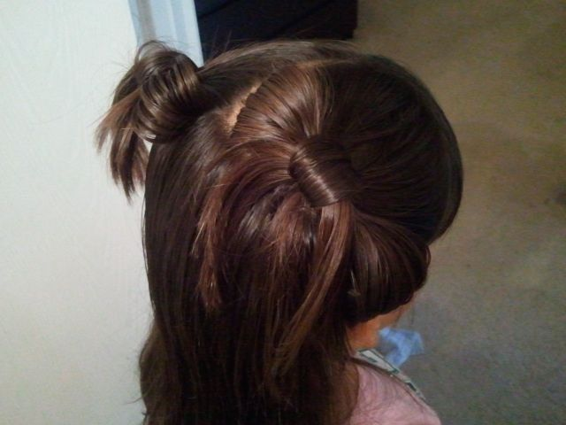 Pinterest inspired kids hair idea, tested on Khiya! Bows! :) ... Uploaded with Pinterest Android app. Get it here: http://bit.ly/w38r4m