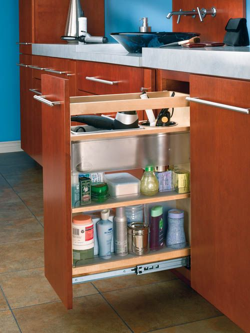 Cabinet Pullout Grooming Organizer For Bathroom Vanity Cabinets