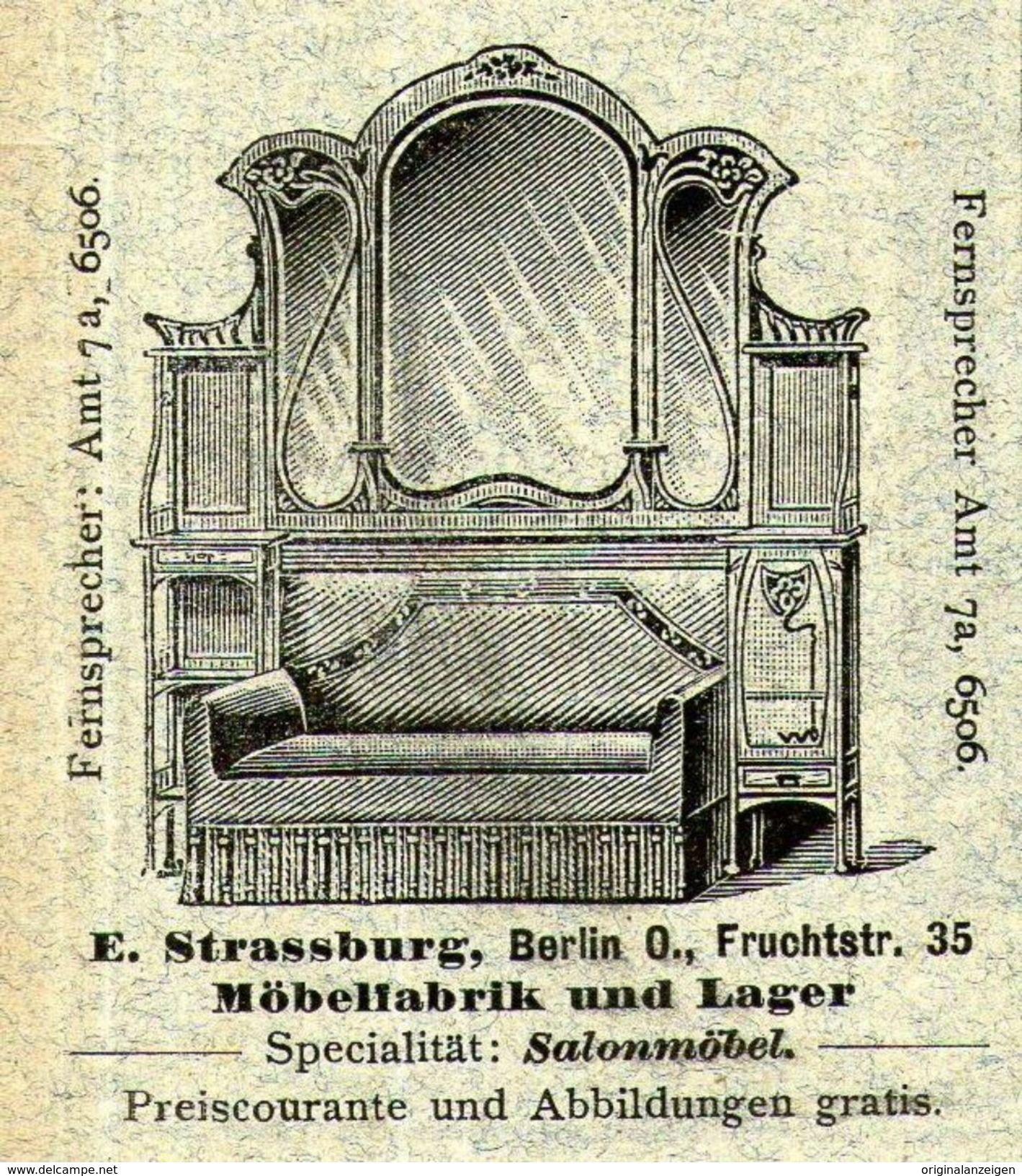 original werbung anzeige 1903 möbel strassburg fruchtstrasse
