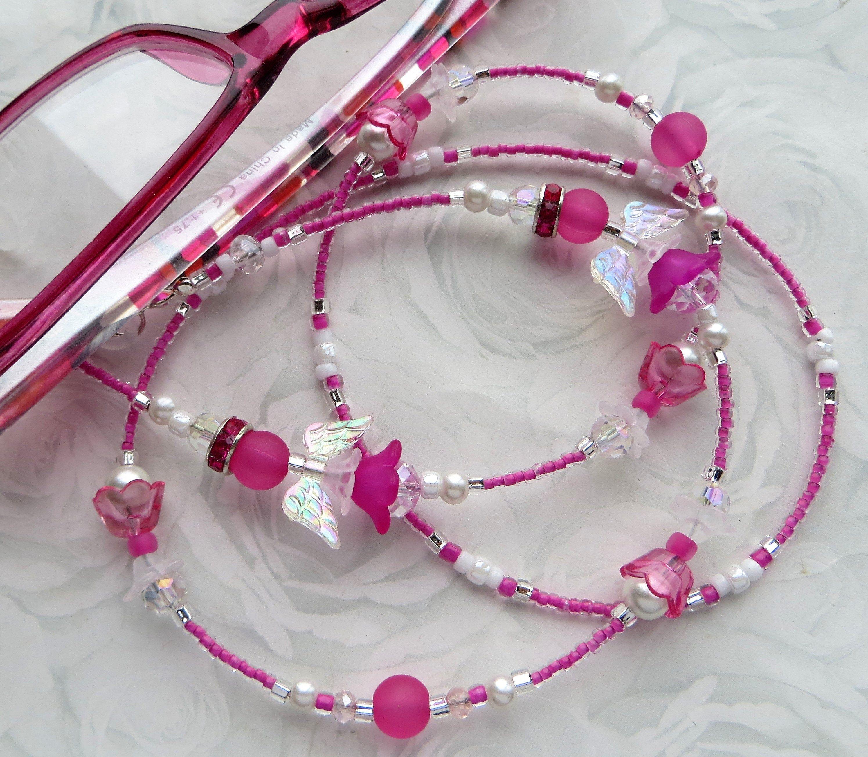 Wife Gift Eyeglass Chain Sunglasses Jewelry Best Friend Gift Pink Reading Glasses PINK FAIRIES or ANGELS- Beaded EyeglassMask Lanyard