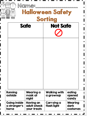 halloween safety sorting lesson on what kids should and shouldnt do on - Halloween Safety Printables